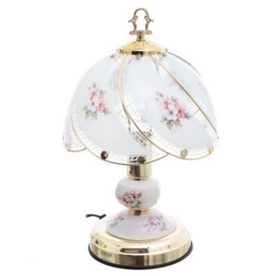 Lámpara de mesa de toque una luz tifani vidrio dorado e14