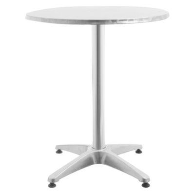 Mesa redonda de aluminio con soporte central y 4 patas