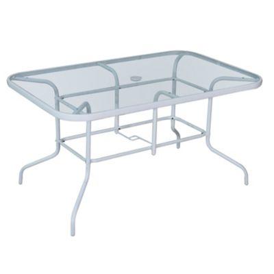 Mesa rectangular blanca de acero y vidrio templado
