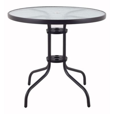 Mesa redonda con vidrio negra 80 cm