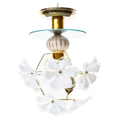 Plafón de techo una luz flores acrílico y metal dorado E27