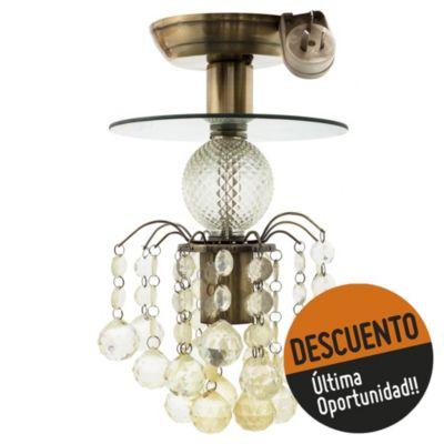 Lámpara de techo una luz bolas de cristal vidrio bronce antiguo e27