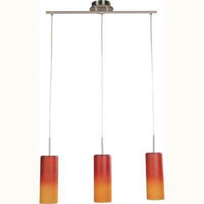 Lámpara de techo colgante tres luces vidrio bicolor níquel e27