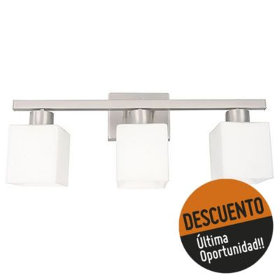 Aplique de pared tres luces cuadrado níquel e27