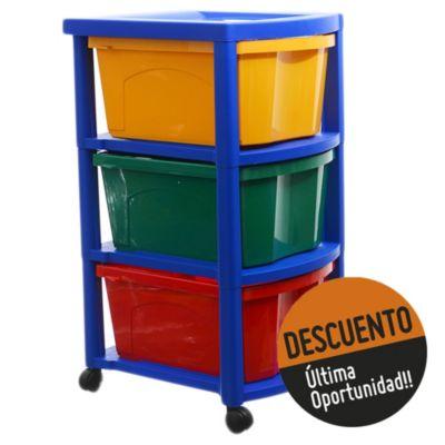 Cajonero multicolor con ruedas y 3 organizadores