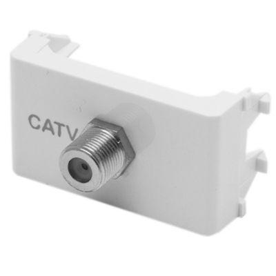 Módulo tomacorriente caTV terminal blanco línea duna