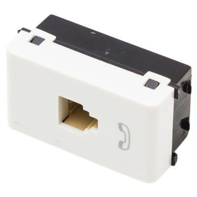 Módulo 1 tomacorriente telefónico 4 contactos rj11 blanco