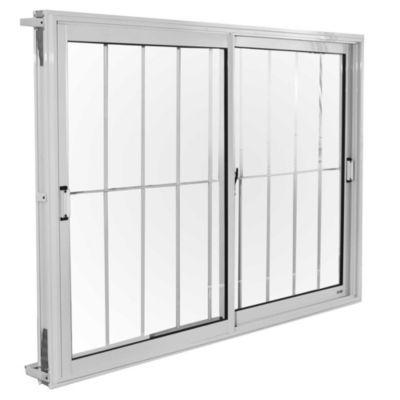 Ventana de aluminio blanca 150 x 110 cm con reja
