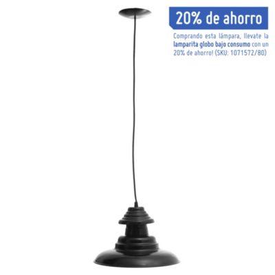 Lámpara de techo colgante una luz chapa sombrero negro e27