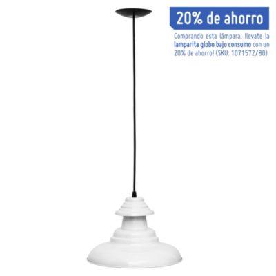 Lámpara de techo colgante una luz chapa sombrero blanco e27