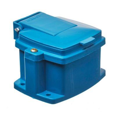 Caja capsulada 1 toma/tierra azul