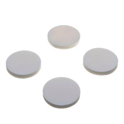 Topetina circular blanca por 4 unidades