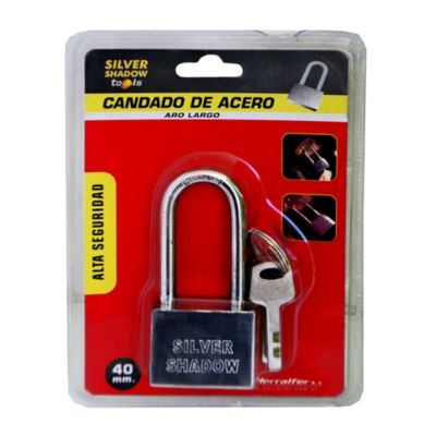 Candado acero inoxidable 40 mm Aro largo 3 llaves