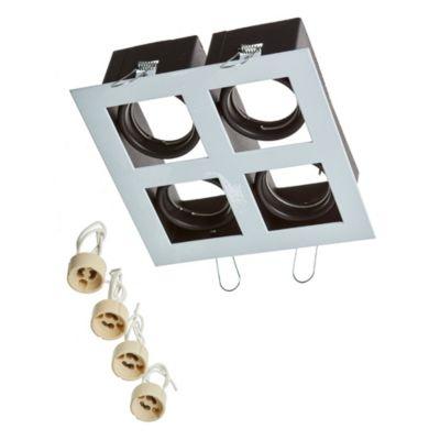Embutido de techo cuatro luces móvil cuadrado blanco