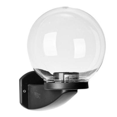 Aplique de pared para exterior una luz plástico globo liso negro 20 cm E27 ip44