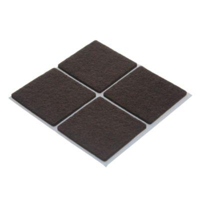 Fieltro adhesivo cuadrado 45 mm marrón por 4 unidades