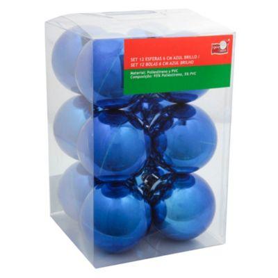 Set 12 esferas 6 cm azul brillante