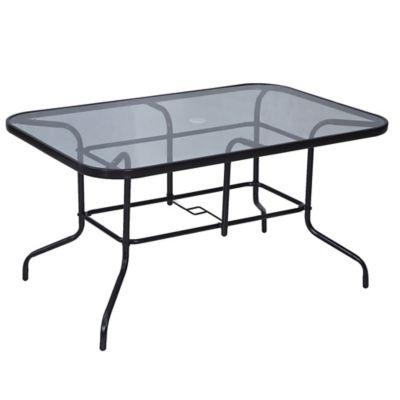 Mesa rectangular negra de acero y vidrio templado