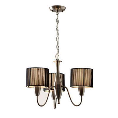 Lámpara de techo colgante tres luces seda negra e27
