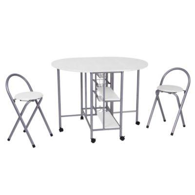 Set mesa plegable + 2 sillas blanca