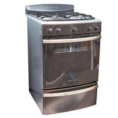Cocina a gas 4 hornallas gris-acero 55 cm multigas