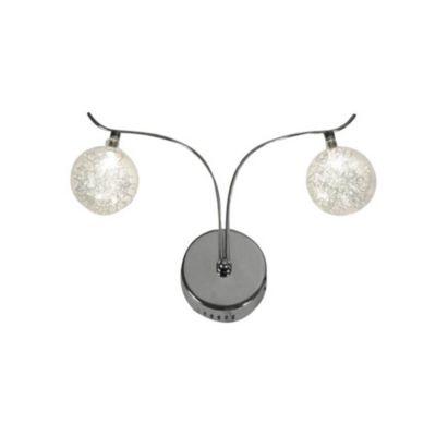 Aplique de pared dos luces bola cristal y cromo g4