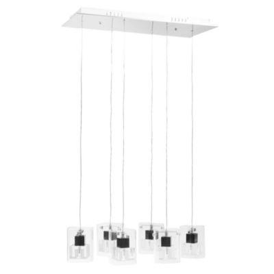 Lámpara de techo colgante seis luces prisma cristal y acero g4