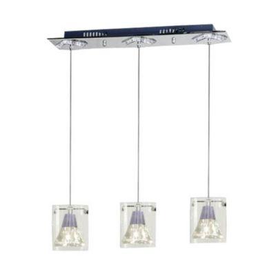 Lámpara de techo colgante tres luces + led prisma vidrio y acero g4