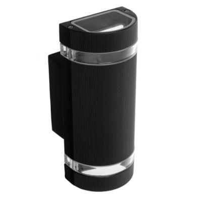 Aplique de pared para exterior dos luces aluminio rectangular Bidireccional negro GU10