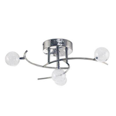 Lámpara de techo Cuatro luces Esferas vidrio y cromo G4