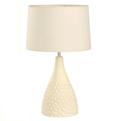 Lámpara de mesa 1 luz pantalla de tela cerámica E27