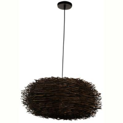 Lámpara de techo colgante una luz ratán chocolate e27