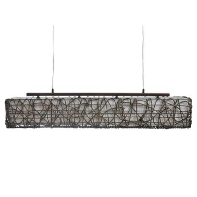 Lámpara de techo colgante cuatro luces ratán chocolate