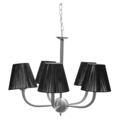 Lámpara de techo colgante cinco luces seda negra E27