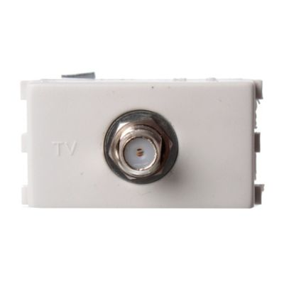 Tomacorriente TV - caTV pin fino blanco