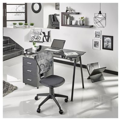 Escritorio de madera metal y vidrio con 3 cajones negro for Sillas de escritorio sodimac