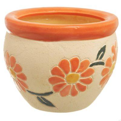 Maceta flor naranja 17 x 12 cm