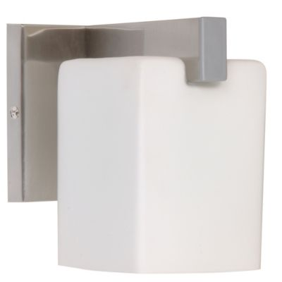 Aplique de pared una luz cubo vidrio níquel e27