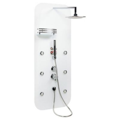 Columna de ducha de vidrio blanca