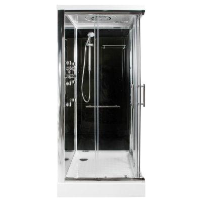 Cabina de ducha cuadrada 6 jets fondo negro 90 x 90 cm