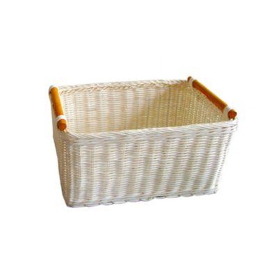 Canasto rattán con manija blanco 27 x 18 x 14 cm