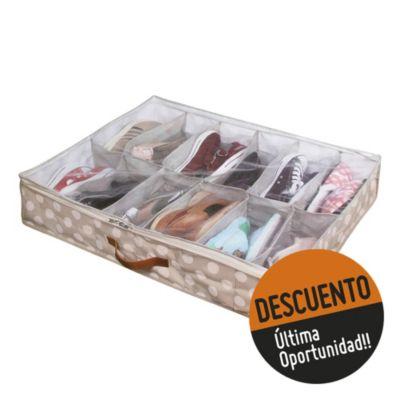 Caja organizadora de zapatos bajo cama lunares 75 x 60 x 15 cm