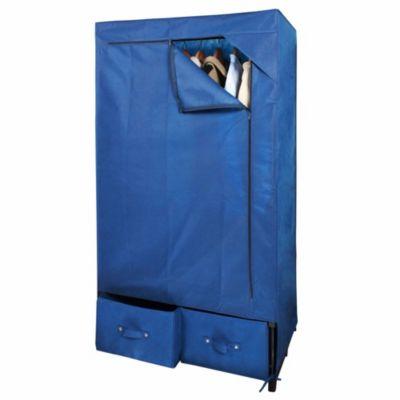 Guardarropa con cajón azul 80 x 160 x 50 cm
