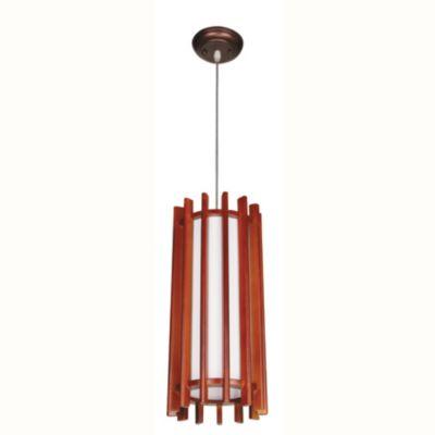Lámpara de techo Colgante una luz Campana madera E27