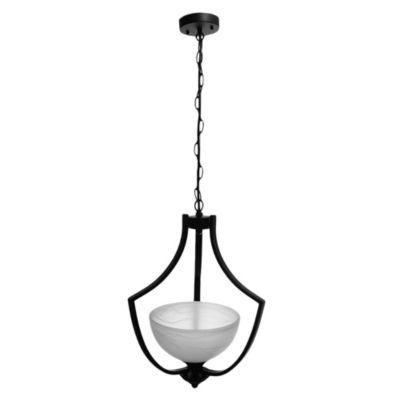 Lámpara de techo una luz metal vidrio y negro