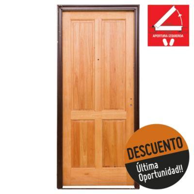 Puerta de madera maciza izquierda para exterior...