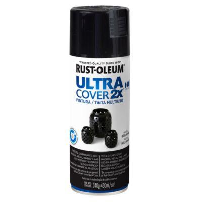 Pintura en aerosol multiuso Ultra Cover 2x negro brillante 340 g