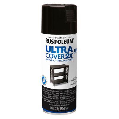 Pintura en aerosol multiuso Ultra Cover 2x negro semi brillante 340 g
