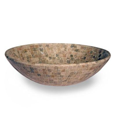 Bacha de mármol travertino oscura mediana 42 cm