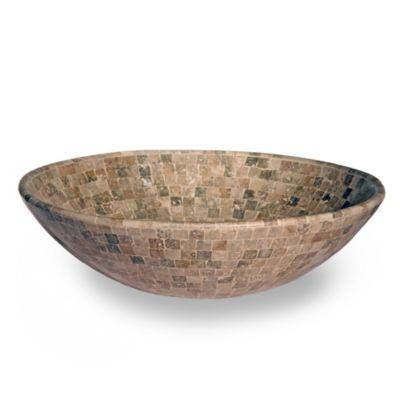 Bacha de mármol travertino oscura oval 43 x 34 cm